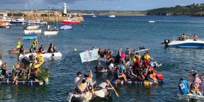 St Ives raft race in Cornwall