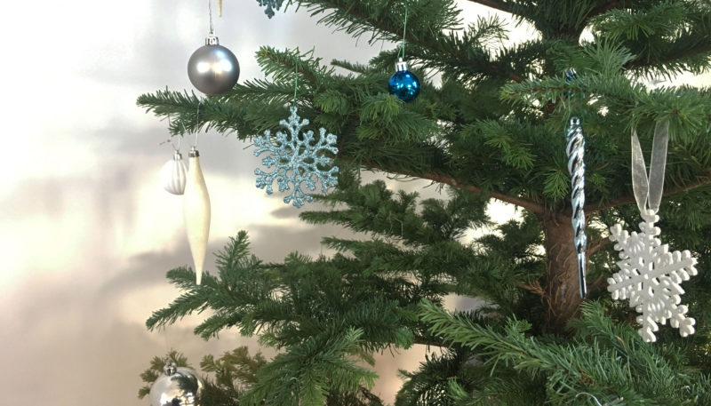 Baubles on a christmas tree in St Ives