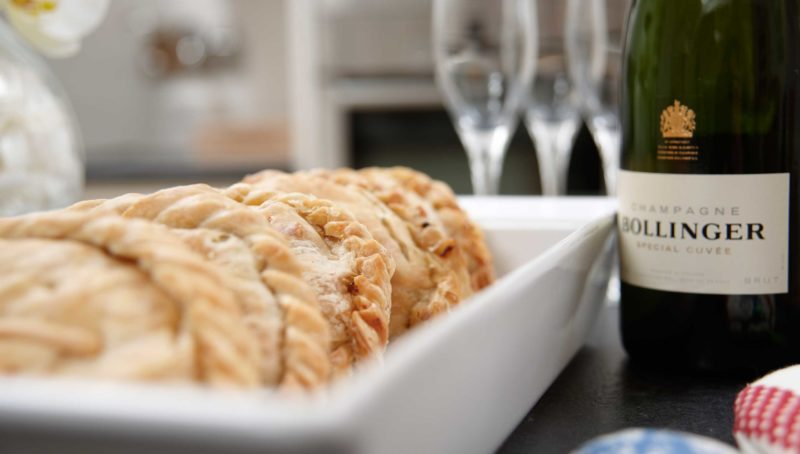 Concierge service pasties on plate with champagne