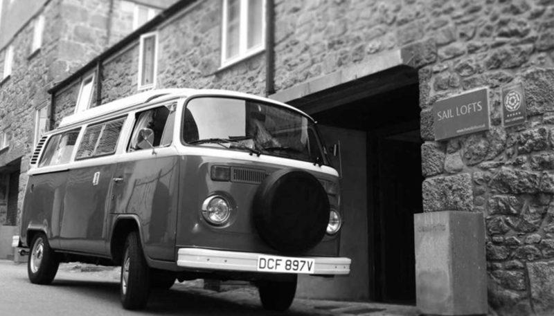 a camper van parked outside St Ives