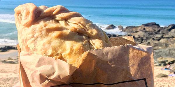 A st ives bakery pasty on Porthmeor beach