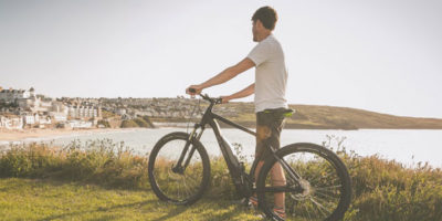 Cycling in St Ives Porthmeor Beach